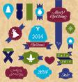 Christmas set variation labels and ribbons vector image