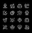 set line icons of party vector image