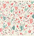 Happy cacti seamless pattern vector image