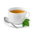 Realistic white cup with black tea and mint vector image vector image