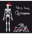 Santa Claus skeleton scary christmas greetings vector image
