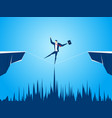 businessman walking tightrope across the gap vector image