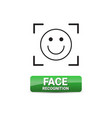 face recognition button access control system vector image