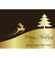 Golden Christmas Tree with Reindeer vector image