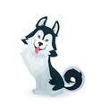 happy husky puppy cartoon dog character design vector image