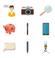 money box icons set cartoon style vector image