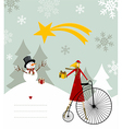 Snowman and star of Bethlehem card vector image