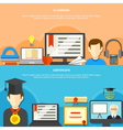 Two Flat Learning Banner Set vector image