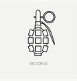 line flat military icon - hand grenade vector image