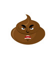 shit angry emoji turd aggressive emotion isolated vector image