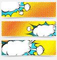 Yellow background pop-art explosion bubble set vector image