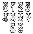 Cute bear Kawaii numbers set - vector image