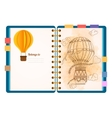 Flat design opened notepad Sketchbook diary vector image