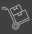 hand truck with cardboard boxes line icon vector image