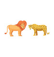 lion and leopard savanna animals in cartoon style vector image