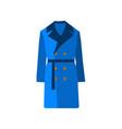 overcoat icon fashion blue on white background vector image