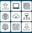 set of 9 web icons includes blog page website vector image