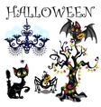 Set of symbols Halloween on white background vector image