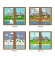 window in different season vector image