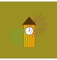 flat on background of Christmas clock vector image