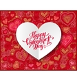 Valentines day calligraphy design on red paper vector image vector image