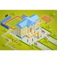 University Complex Building Isometric View Poster vector image