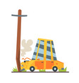car crashed into street post car accident vector image
