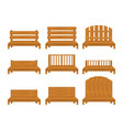 set of different types of wooden benche icon vector image