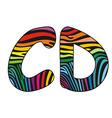 Background skin zebra shaped letter C D vector image