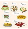 Popular world famous food international restaurant vector image vector image