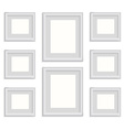 blank picture frame template set isolated on wall vector image
