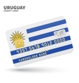 Credit card with Uruguay flag background for bank vector image