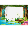 Paper design with pond in forest vector image