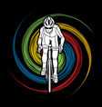 Bicycle riding front view sport man biking vector image