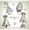 Hand drawn Christmas tree design set vector image vector image