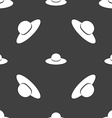 Woman hat icon sign Seamless pattern on a gray vector image