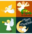 christmas holiday set of flying angel with wings vector image