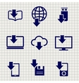 Different devices downloading data sketch icons vector image