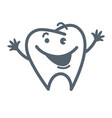 tooth with friendly facial expression and raised vector image