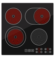 Kitchen Electric hob with ceramic surface and vector image