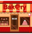 Bakery building with cakes donuts and pies vector image