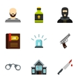Robbery icons set flat style vector image
