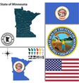 Map of Minnesota with seal vector image