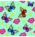 green background seamless butterfly vector image vector image