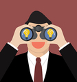 Businessman use binoculars looking for business vector image