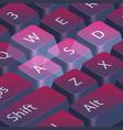 computer gamer keyboard closeup highlight wasd vector image
