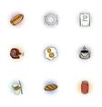 Junk food icons set pop-art style vector image