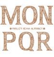 paisley henna alphabet mnopqr vector image
