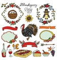 Thanksgiving dayDoodle collectionColorful set vector image
