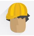 Worker head in helmet in flat style vector image